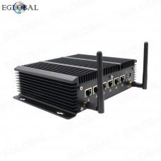 Eglobal Fanless 6LAN ports Industrial Mini PC stable performance Firewall Pfsense Router 2*RS232 COM HDMI 4G/3G WiFi with SIM slot